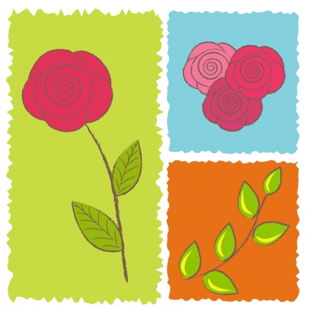 Three icons of roses Vector