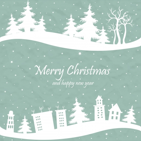 peaceful scene: Christmas card with the shape of houses and trees