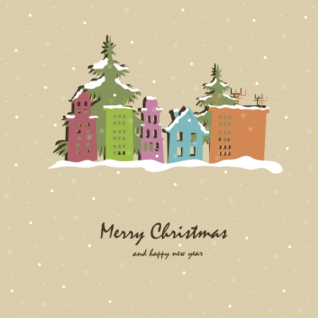 Christmas card with snow-covered buildings and trees Vector