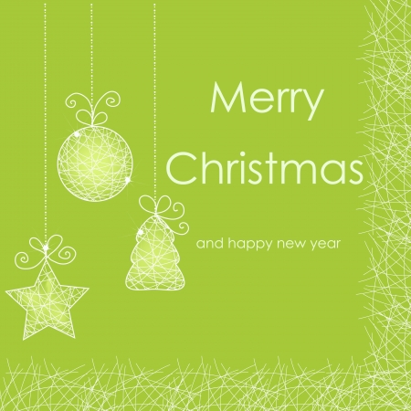 green swirl: Beautiful Christmas card with Christmas decorations Illustration