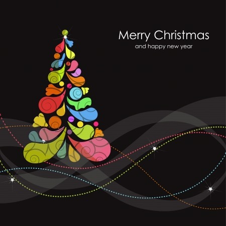 tree outline: Christmas card with multicolored tree Illustration