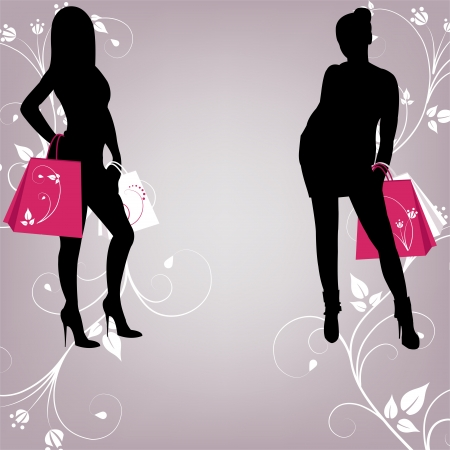 girl shadow: The outline of two fashionable girls with shopping Illustration