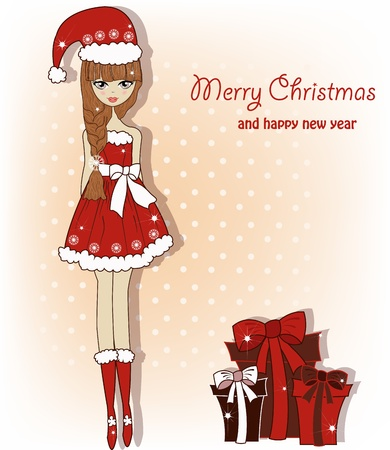 Sweet girl with gifts for Christmas Vector