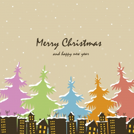 Christmas. Houses and trees in snow Vector