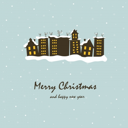 snowcovered: Beautiful Christmas card with snow-covered houses Illustration