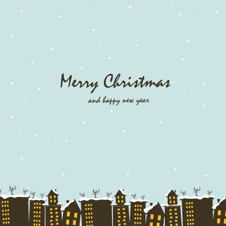 Beautiful Christmas card with snow-covered houses Vector