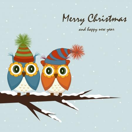 christmas owl: Christmas card. Owls on the tree