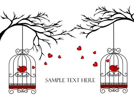 Two lovers birds in cages on the branches Vector