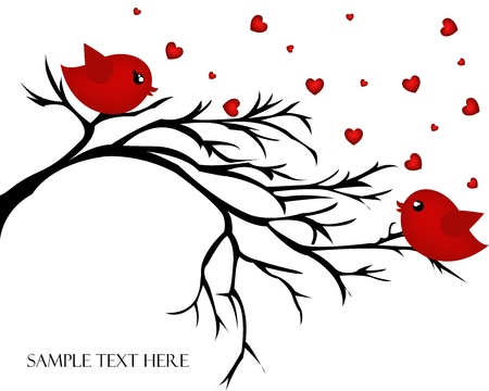 affectionate: Loving pair of birds on a branch  Valentine s day