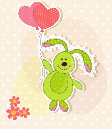 Beautiful toy bunny with hearts Vector