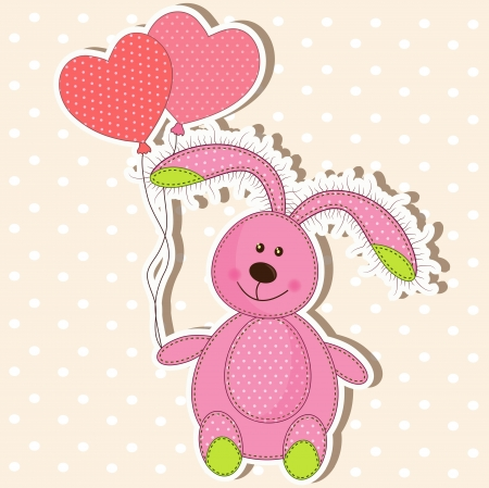Beautiful toy bunny with hearts Stock Vector - 17403871