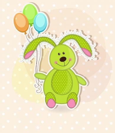Beautiful rabbit with balloons Stock Vector - 17403874