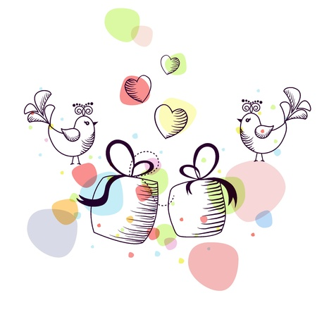 The outline of the birds with gifts on a white background Stock Vector - 17403843