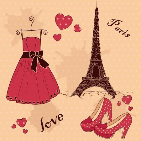 иллюстрировать: Красивый набор из Из Парижа с любовью Иллюстрация