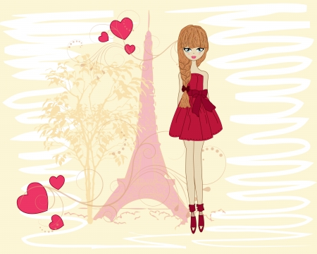 french girl: Beautiful girl on a walk through Paris Illustration
