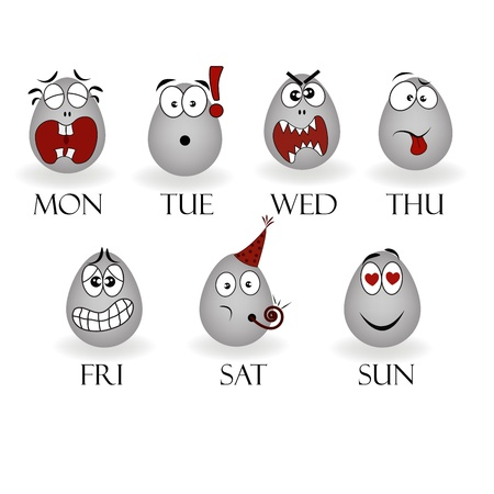 ovoid: Emotions on different days of the week Illustration