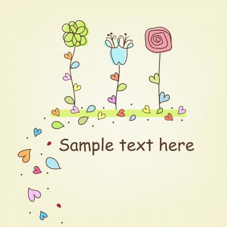 Multi-colored flowers hand-drawn Illustration