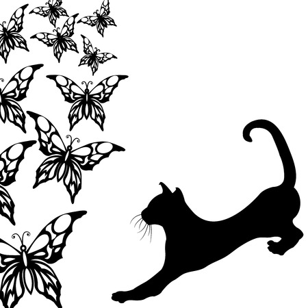black and white image: Black cat with butterflies on a white Illustration