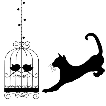 Black bird cages and cat on white background
