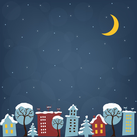 christmas village: Beautiful Christmas night with houses