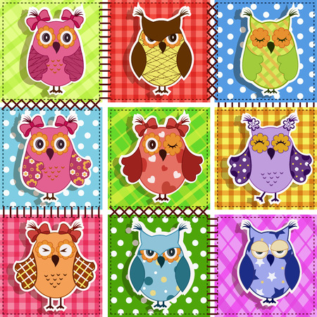 Patchwork with owls. Baby seamless background Vector