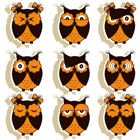girl computer: Set of 12 owls with different emotions Illustration