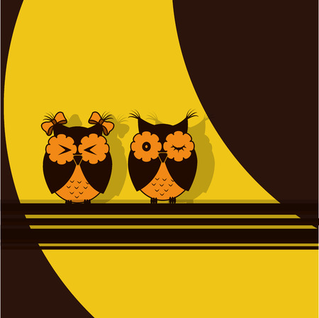 cartoon strip: Two orange brown owl on a yellow and brown background