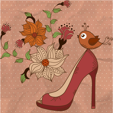 Womens shoes on a beautiful floral background with bird 向量圖像