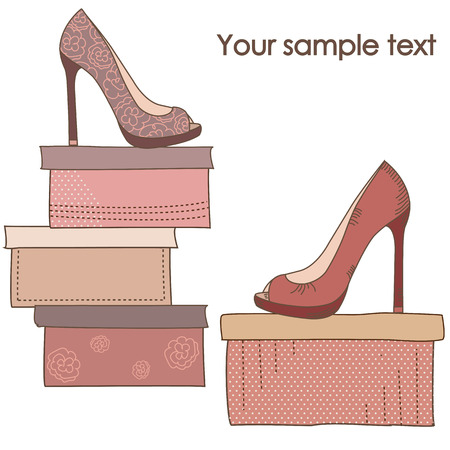 heel: A pair of shoes on the boxes Illustration