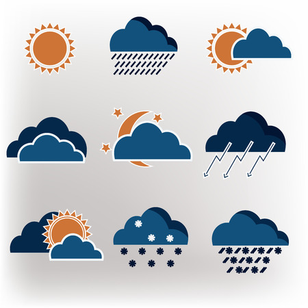Vector icons weather forecast Illustration