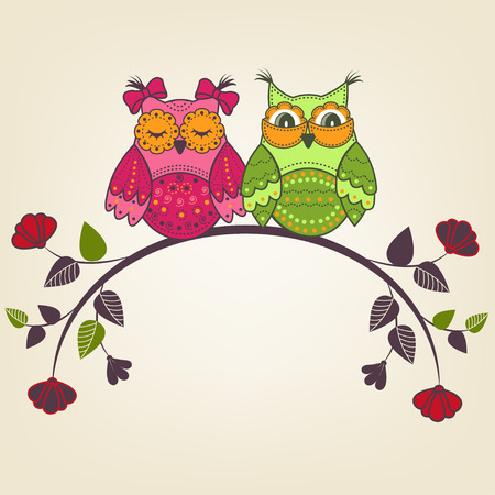 computer art: Two beautiful owls on a branch with flowers Illustration
