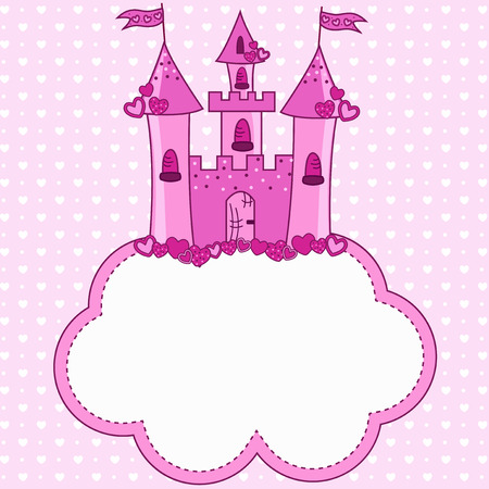 Pink castle for a princess on a cloud