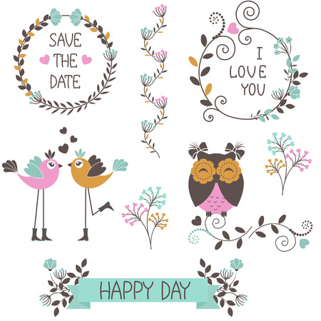 schriftrolle: Ikonen der Blumen mit Vögeln Illustration