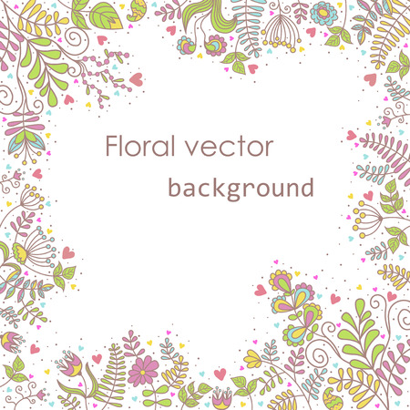 patterns vector: Beautiful frame for the postcard of flowers delicate colors