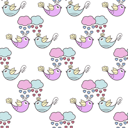 rain cartoon: Seamless pattern of the lovers of birds and clouds Illustration