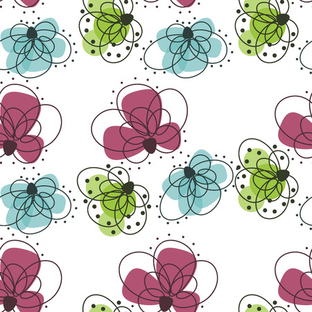 graphic pattern: Beautiful seamless pattern with flowers on a white background