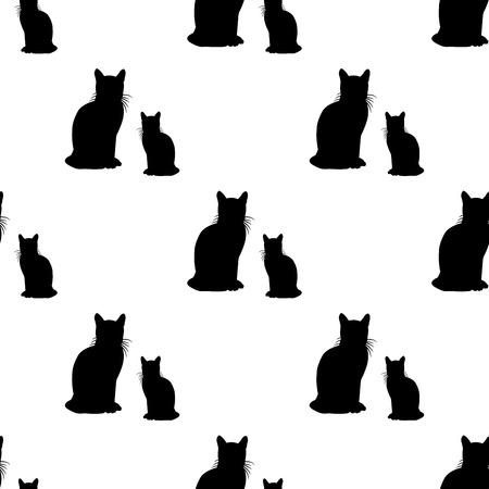 black cat silhouette: Seamless pattern with black cats on white