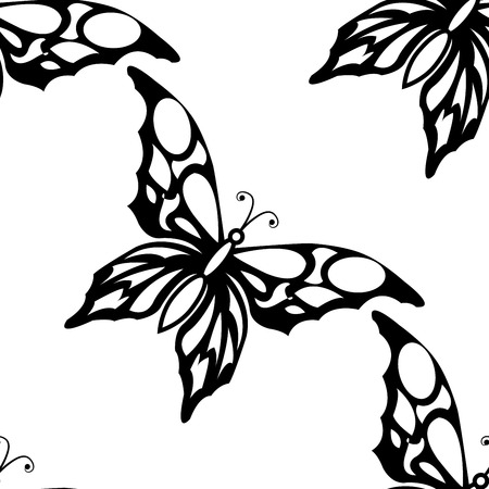 flying paper: Seamless white background with black butterflies Illustration