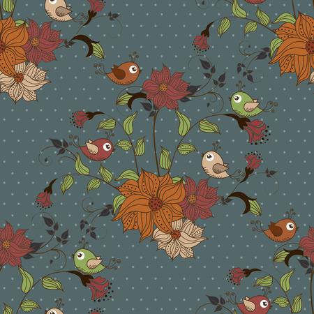 verschnörkelt: Schöne nahtlose Muster mit Blumen und Vögeln auf blauem Hintergrund mit Punkten