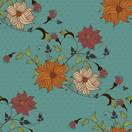 seamless floral pattern: Beautiful seamless pattern with flowers on blue background with dots