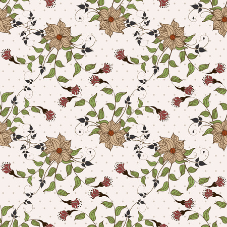 eleganz: Nahtlose Hintergrund mit Blumen auf einem weißen Hintergrund Illustration