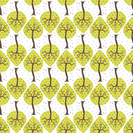 yellow trees: Seamless white background with yellow trees