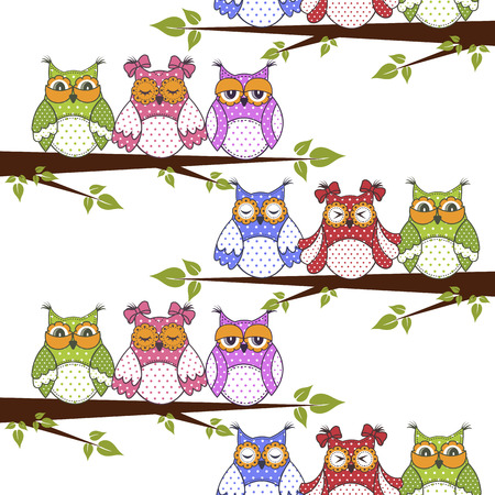 Seamless pattern with owls in the trees on a white background
