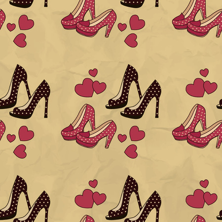 heel: Seamless pattern with brown and red shoes with polka dots
