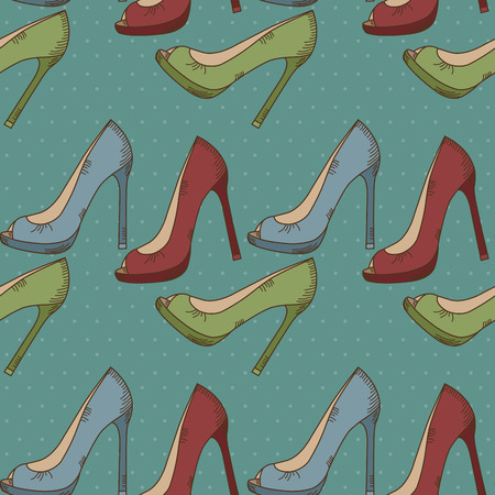women's shoes: Seamless pattern with womens shoes Illustration