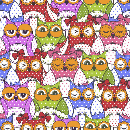 Seamless pattern of colorful owls