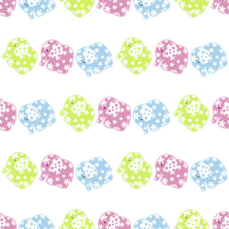 green day baby blue background: Seamless pattern with colored elephants Illustration