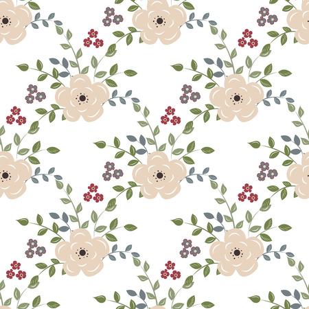 Vector pattern: nền liền mạch với hoa màu đỏ trên một Backgroun trắng Hình minh hoạ