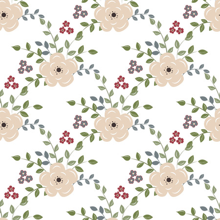 seamless floral pattern: Seamless background with red flowers on a white backgroun