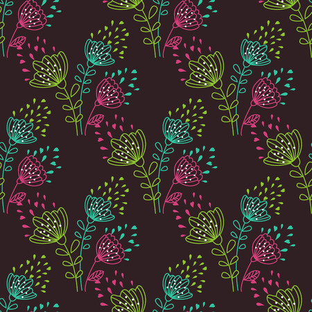 nature backgrounds: Seamless background of flowers on a dark background Illustration